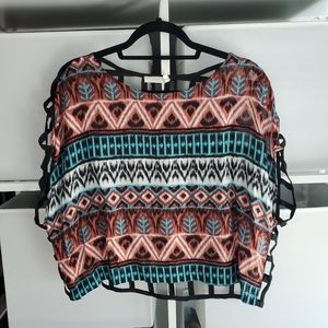 Teal & rust boho print crop top with cage back